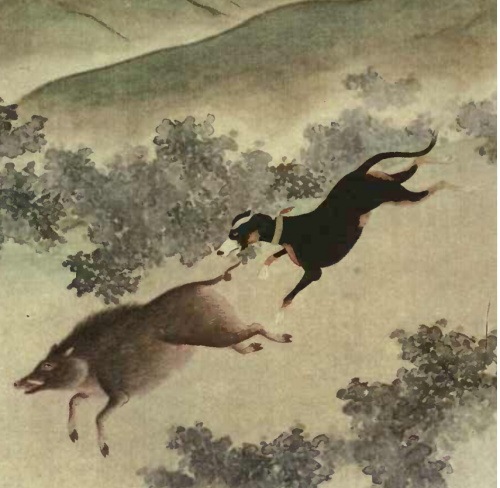 Black and Tan dog in old Chinese painting