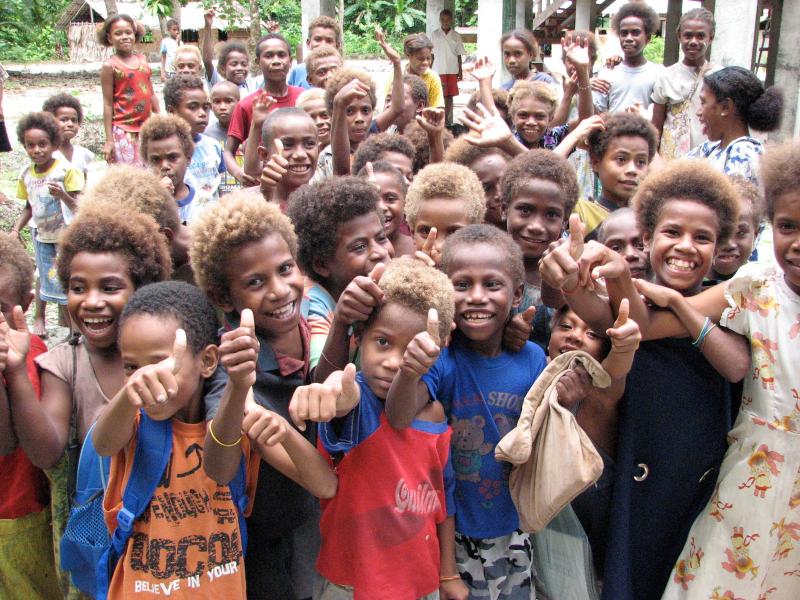 Blond school Children in the Solomon Islands